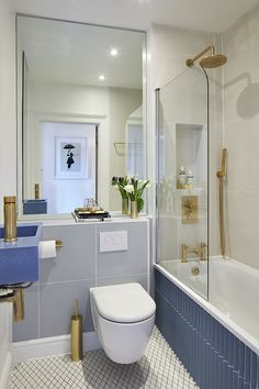 A small bathroom can look stylish and feel spacious whilst being perfectly practical. Here are our small bathroom ideas to help make your space feel bigger. Small Bathroom Ideas Uk, Small Bathroom Layout, Modern Small Bathrooms, Tiny Bathrooms, Bathroom Trends, Better Bathrooms, Cozy Bathroom, Downstairs Bathroom, Bathroom Shelves
