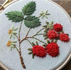 Fraise. Stumpwork embroidery