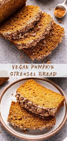 This moist Vegan Pumpkin Streusel Bread is an easy to make, dairy and egg free quick bread that's topped with a sweet crumbly streusel. It's perfect for a fall weekend breakfast treat! #pumpkinbread #pumpkin #pumpkinspice #quickbread #breakfast #fallrecipes #streusel #veganrecipes