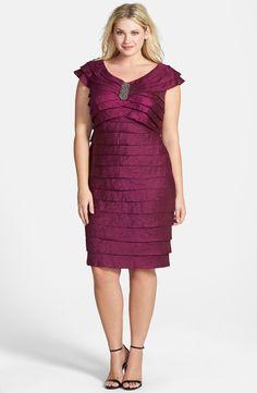 Shimmer Shutter Pleat Sheath Dress (Plus Size)