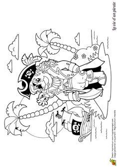 Image d'un vieux pirate en train d'attendre son navire sur une île déserte, à colorier.
