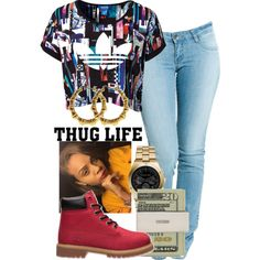 Untitled #136 by khanyajane on Polyvore featuring adidas Originals, Dr. Denim, Michael Kors and Timberland