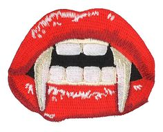 Vampire Mouth Iron-On Patch Horror Blood Gore Punk Goth Gothic Monster Fangs Academy Dracula Bella Lugosi Monster Teeth Blood Sexy Lips