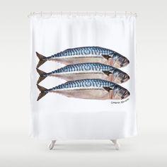 Fresh Cornish Mackerel Shower Curtain by Drunknjim | Society6