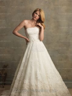A-Line Strapless Appliques Tulle Chapel Train Wedding Dress at Millybridal.com