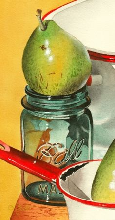 Ball Jar with Pear and New Video, painting by artist Jacqueline Gnott