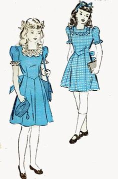 1940s Swing Era Advance 4677 Girls Frilly Sunday by sandritocat, $10.00
