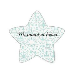 Funny custom mermaid quote nautical pattern star sticker - funny quote quotes memes lol customize cyo