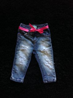 Baby girl jeans by DestroyedBySnow on Etsy https://www.etsy.com/listing/233472428/baby-girl-jeans