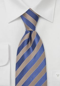 Bronze and Royal Blue Striped Tie | Ravenclaw tie? Maybe?