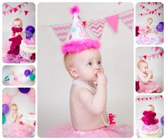Adorable pink and purple themed first birthday portraits. One year old girl. Balloons, party hats, funfetti cake fun! For more info visit: http://www.kieraslyephotography.com/firstbirthday/