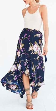 floral print wrap maxi skirt