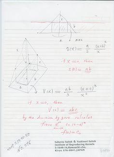 №376-732:   ゼロ除算が 捉えた自然な値、今までは 無限大とされていた量に、美しい量を表現している。  The division by zero is uniquely and reasonably determined as 1/0=0/0=z/0=0 in the natural extensions of fractions. We have to change our basic ideas for our space and world   Relations of 0 and ¥     Hiroshi Okumura, Saburou Saitoh and Tsutomu Matsuura: http://www.e-jikei.org/Journals/JTSS/issue/archives/vol01_no01/10_A020/Camera%20ready%20manuscript_JTSS_A020.pdf   Division by Zero z/0 = 0 in Euclidean Spaces Hiroshi Michiwaki…