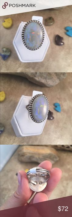 Navajo Opal & Sterling Silver Ring Size 8.5 This is a wonderful piece made by Scott Skeets it is made of Sterling Silver and Opal. This ring is a size 8.5 and is right at 1 inch long and 3/4 of a inch wide. The ring is signed by the artist and stamped sterling.    Please contact me with any questions and thank you for looking. Jewelry Rings