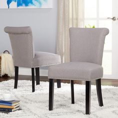 Simple Living Adeline Nailhead Parsons Dining Chair (Set of 2) (Adeline Parsons Chairs (Set of 2)), Black (Linen)