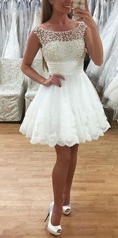 A-Line Kleider, Neck Round Kleider, Short Heimkehr Kleider, White Lace Heimkehr Kleider, Perlen Kleider