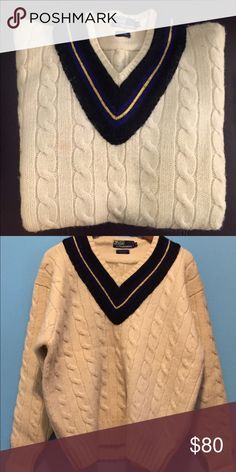 Polo Ralph Lauren Cream Wool Sweater Polo Ralph Lauren Men's Wool Sweater V-Neck Size: Xl Color: Cream, Black, Blue, Gold Gender: Male. Age Group: Adult. Material: Wool. Ralph Lauren Sweaters V-Neck