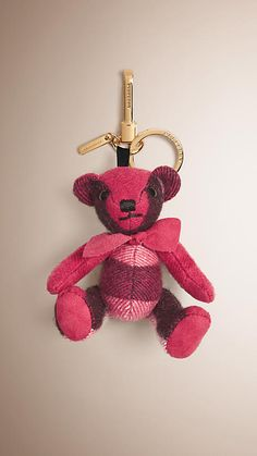Fuchsia pink Thomas Bear Charm in Check Cashmere - Image 1
