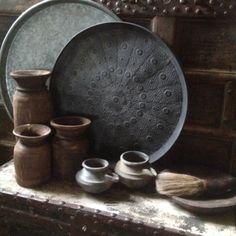 Hoge smalle houten Nepal kruik pot vaas landelijk