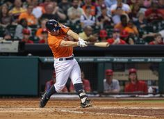 CrowdCam Hot Shot: Houston Astros second baseman Jose Altuve gets a single during the fifth inning against the Los Angeles Angels at Minute Maid Park. Photo by Troy Taormina