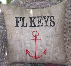 coastal decor keys pillow