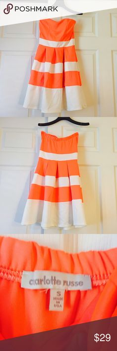 Charlotte Russe Peach/White Stpless Skater Dress S So cute and flirty small discoloration by skirt seam barely noticeable unless searching for it Charlotte Russe Dresses Strapless