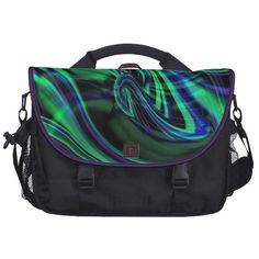 Abstract Neon Aqua N Blue Waves Bags For Laptop