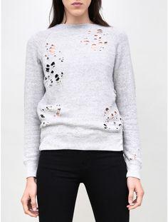 Shredded Zip Side Sweatshirt in Light Heather
