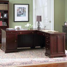 Rich Cherry Finish Classic Office Desk W Storage Drawers
