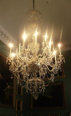 Crystal Chandelier with crystal rope drops! Antique Chandelier, Chandelier Lighting, Crystal Chandeliers, Glass Chandelier, Love And Light, Light Up, Objet D'art, Beautiful Lights, Lamp Light