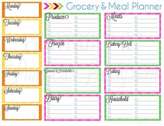 I love this free printable grocery and meal planner!  It has a place to list meals and breaks down each section of the grocery store.  So organized!