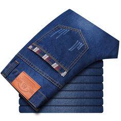 Fashion Men Jeans Long Trousers Solid Men Trend Denim Casual High Quality Pants Pockets Slim Soft Stright Men's jeans Hot Tops