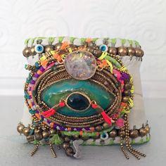 Cosmic Moon Leather Cuff Bracelet