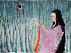 Princess Kaguya from 'The Tale of the Bamboo Cutter.'  Artwork by Jayde Hilliard.