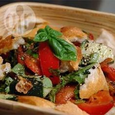 Italian Style Bread Salad | This is a perfect summer salad which is also a good use for leftover bread. The bread is even better if slightly stale as it stays crunchy when the dressing is added. | @ allrecipes.com.au