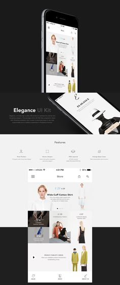 Elegance, includes high-quality iOS screens to address the clothes and shopping category. This package within 40 PSD files prepared in detail with Photshop available. Each screen is extremely easy to use, fully customizable and is carefully assembled in…