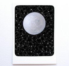 moon 2 // original painting // stars night sky constellations // contemporary watercolour art by natasha newton. £40.00, via Etsy.
