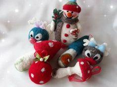 Felt Christmas, Christmas Tree Ornaments, Felted Wool, Wool Felt, December, Holiday Decor, Mini, Handmade, Home Decor