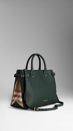 Dark bottle green The Medium Banner in Leather and House Check. Burberry. Love! Love! Love!