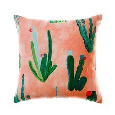 Mercer + Reid Watercolour Cactus Cushion Cactus Peach, cushion, cushions