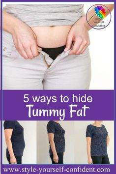 5 ways to hide tummy fat - choose your styles carefully and you can disguise the 'pot' Dress To Hide Belly Fat, Dresses To Hide Tummy, Lose Belly Fat, Mom Tummy, Apple Shape Outfits, Apple Shape Fashion, Bloated Tummy, Lower Belly Pooch, Flattering Outfits