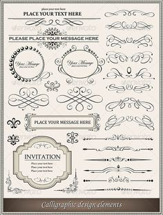 Buy Calligraphic elements by ashberris on GraphicRiver. Vector illustration of calligraphic elements and page decoration. Zip file included two EPS , one with outlined t. Page Decoration, Simple Borders, Lace Border, Border Design, Retro Design, Graphic Design, Designs To Draw, Vector Free, Web Free