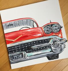 24x 24 vintage red car. Front view original art. by sincerelyYOU