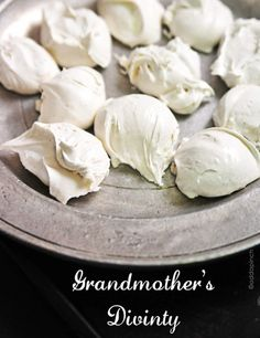 Grandmother's Divinity was always a part of our Christmas celebration. She'd watch the weather carefully during the week before Christmas to pick just the right day, the one with the lowest possible humidity, and she'd begin making this delicious confection. Tasting a lot like marshmallows, her
