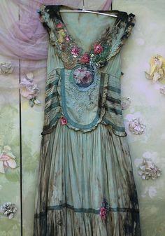 RESREVED PART PAYMENT Verdigris dress baroque by FleursBoheme