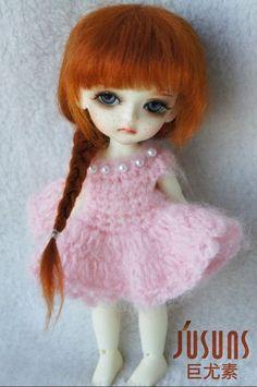 mohair doll wigs 1/8 5-6inch Elsa braid BJD hair