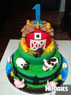 1st birthday barnyard cake