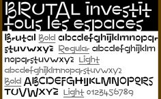 "Name: Brutal Designer: Benoît Bodhuin Foundry: bb-bureau.fr Release Date: June 2017  Back Story: As a starting point, Bodhuin imagined a typeface characterized by unexpected connections between letters, to be used by an architect in the early days of his or her career. ""I wanted to direct this"