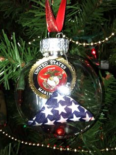 USMC Gold Sparkle Ornament | Military Tree Trimming | Pinterest