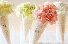 such a cute bouquet idea w/ carnations for an ice cream-inspired theme